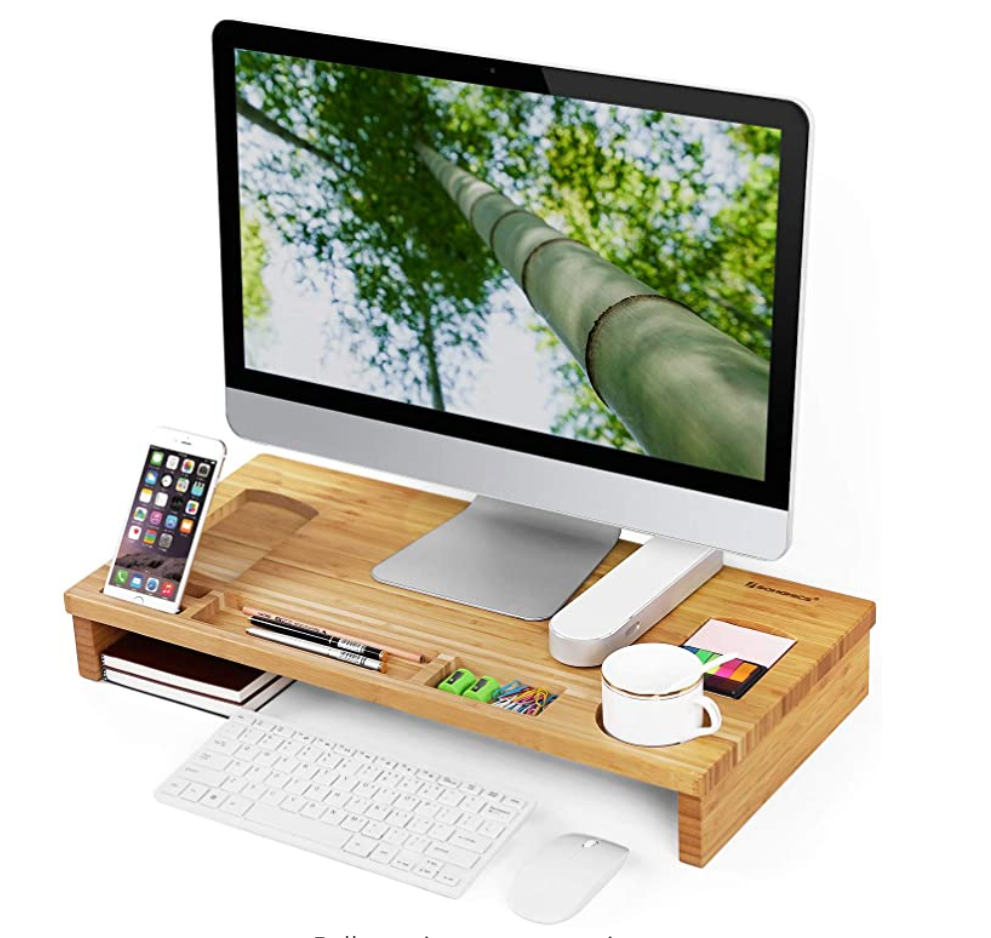 Bamboo Monitor Stand - Work From Home Sustainability