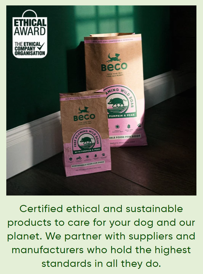 Ethical Award from The Ethical Company Organisation. Certified ethical and sustainable products to care for your dog and our planet. Eco-Friendly Dog Toys Made by Beco Pets