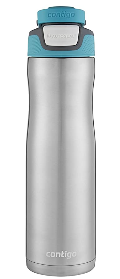 Contigo Autoseal Chill Stainless Steel Water Bottle - Silver and Aqua Blue