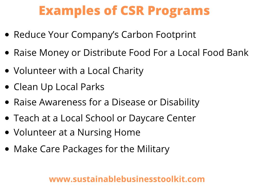 Examples of CSR Programs