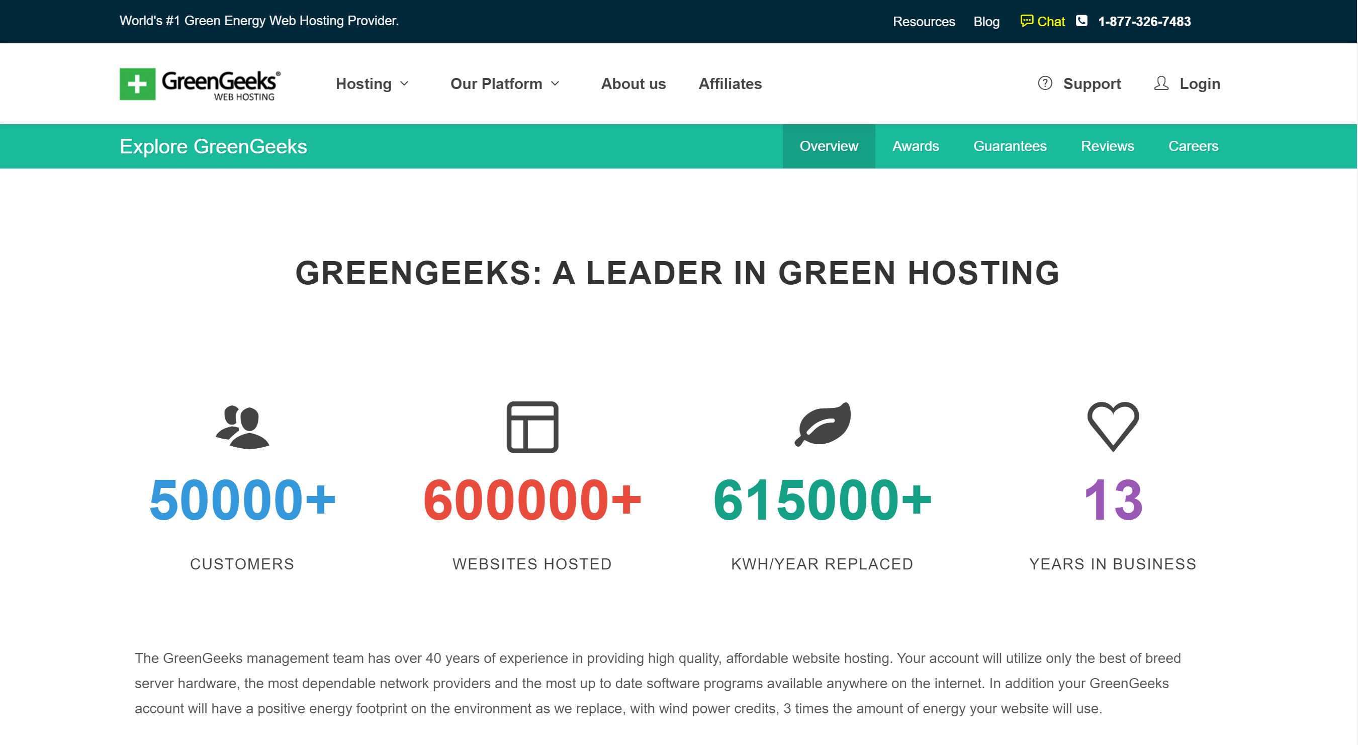 GreenGeeks Statistics - Over 600,000 websites hosted, 615,000 kwh/year replaced, and 13 years in business