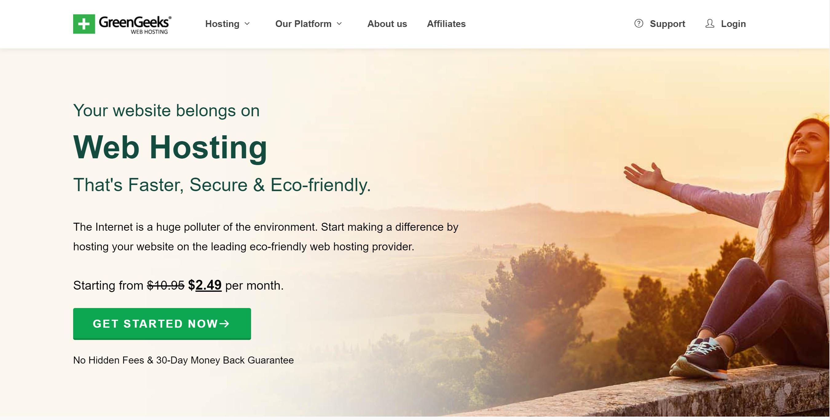 GreenGeeks Landing Page - Starting at $2.49 per month