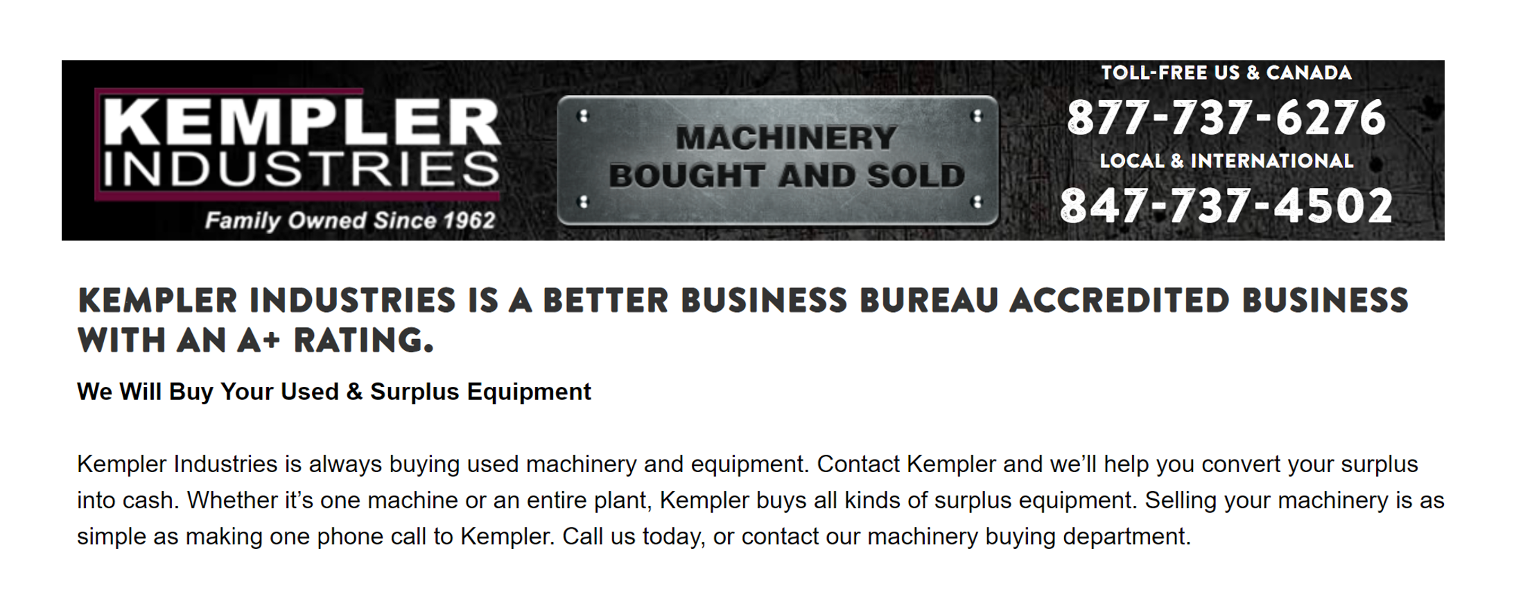 Kempler Industries - Sell Used Industrial Equipment
