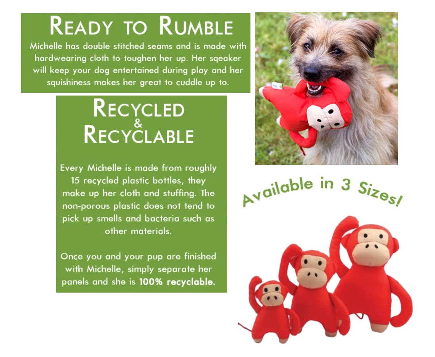 Michelle the Monkey Eco Friendly Dog Toy - Available in 3 Sizes
