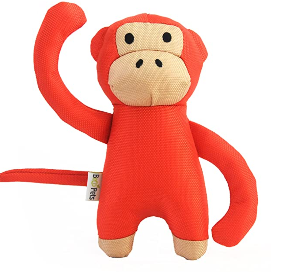 Red Monkey Plush Dog Toy Made From Recycled Plastic - Eco-Friendly Dog Toy