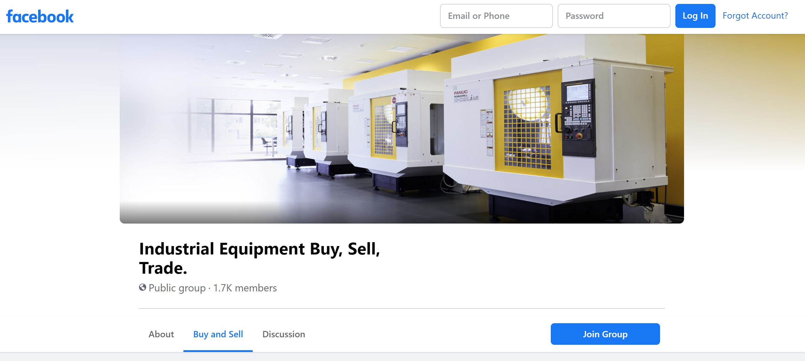 Public Facebook Group - Sell Used Industrial Equipment
