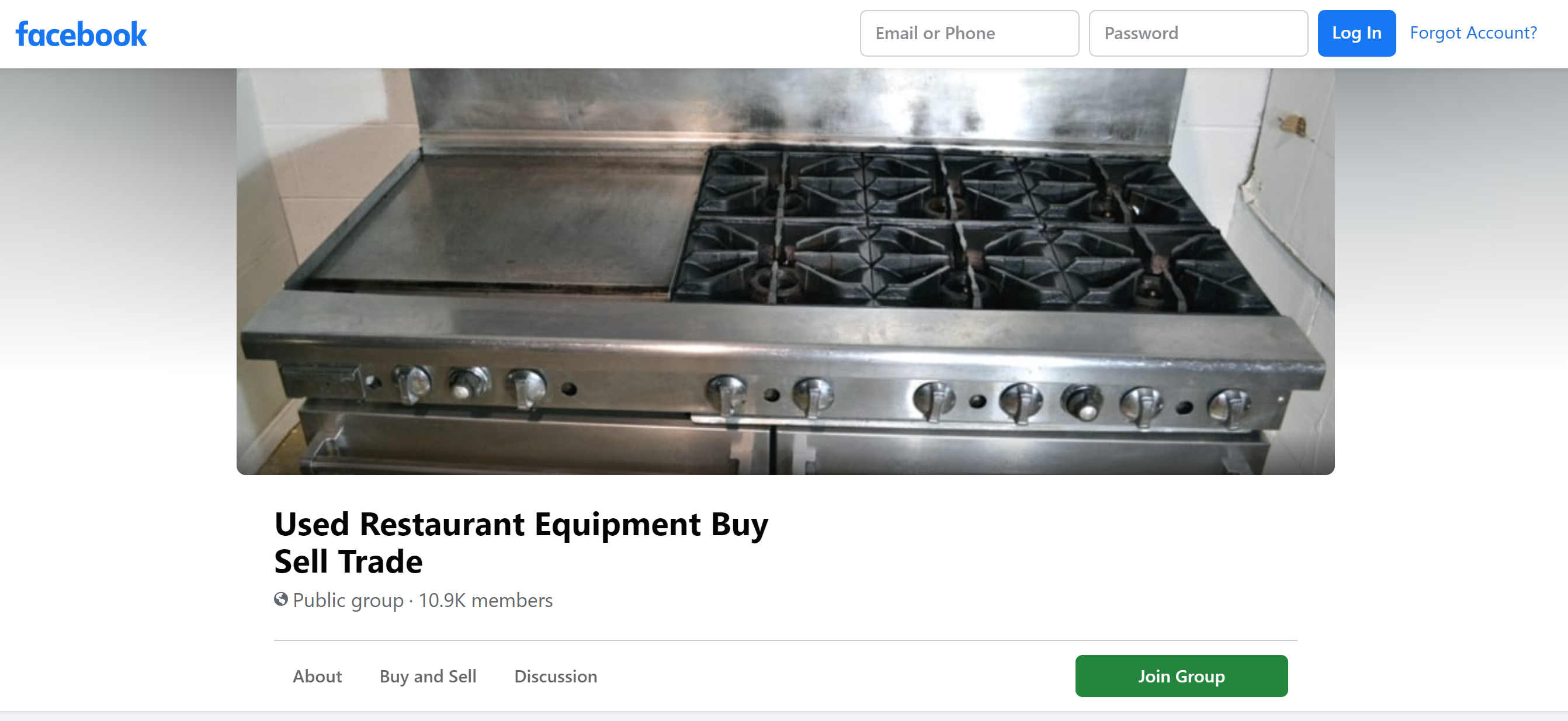Public Facebook Group_Used Restaurant Equipment