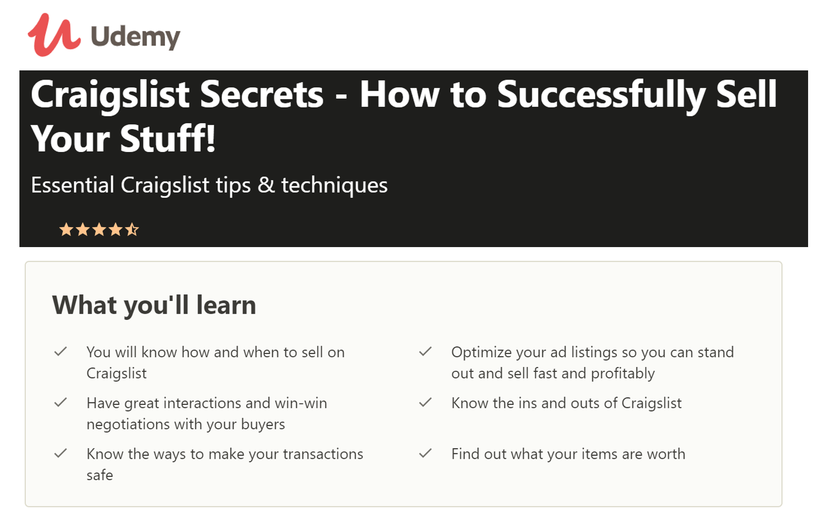 Udemy - Craigslist Secrets - How to Successfully Sell Your Stuff