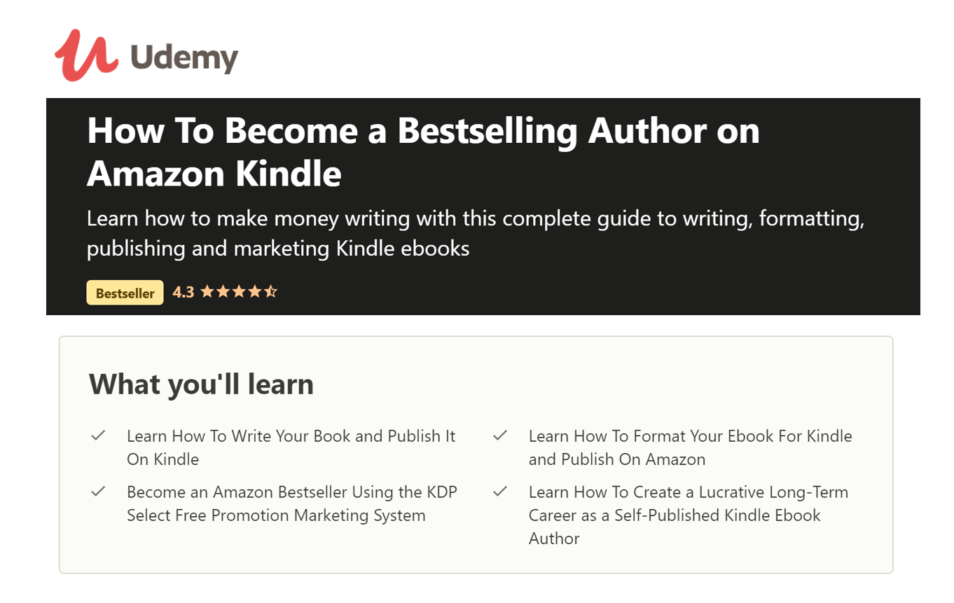 Udemy Course - Best Selling Author on Kindle