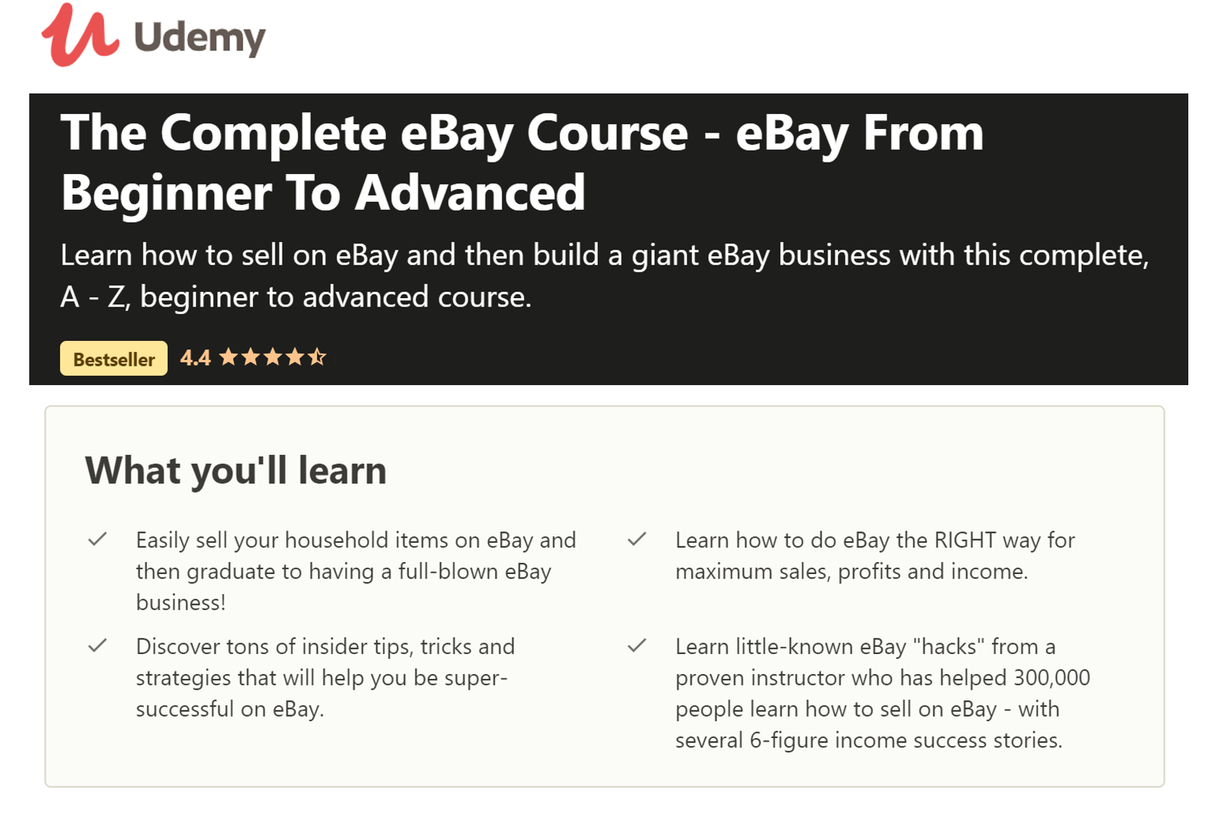 EBay Course From Beginner to Advanced
