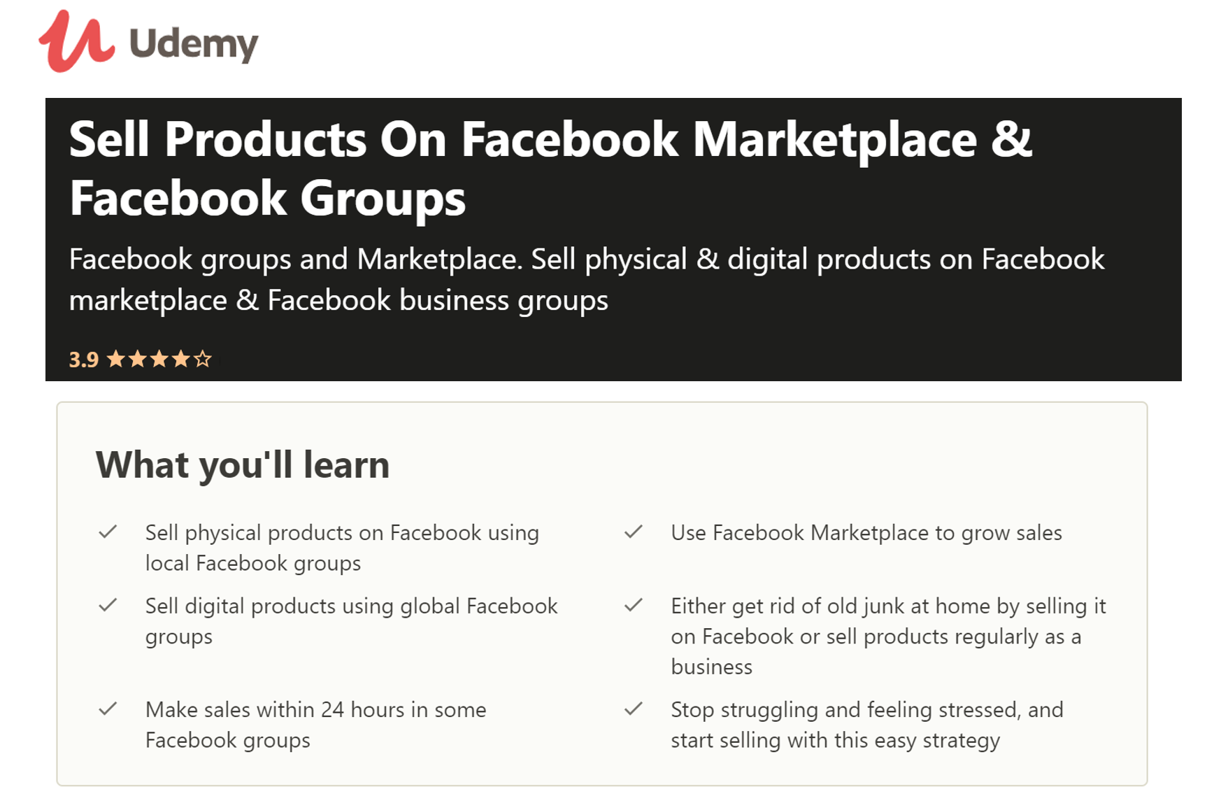 Online Course - Sell on Facebook Marketplace & Facebook Groups