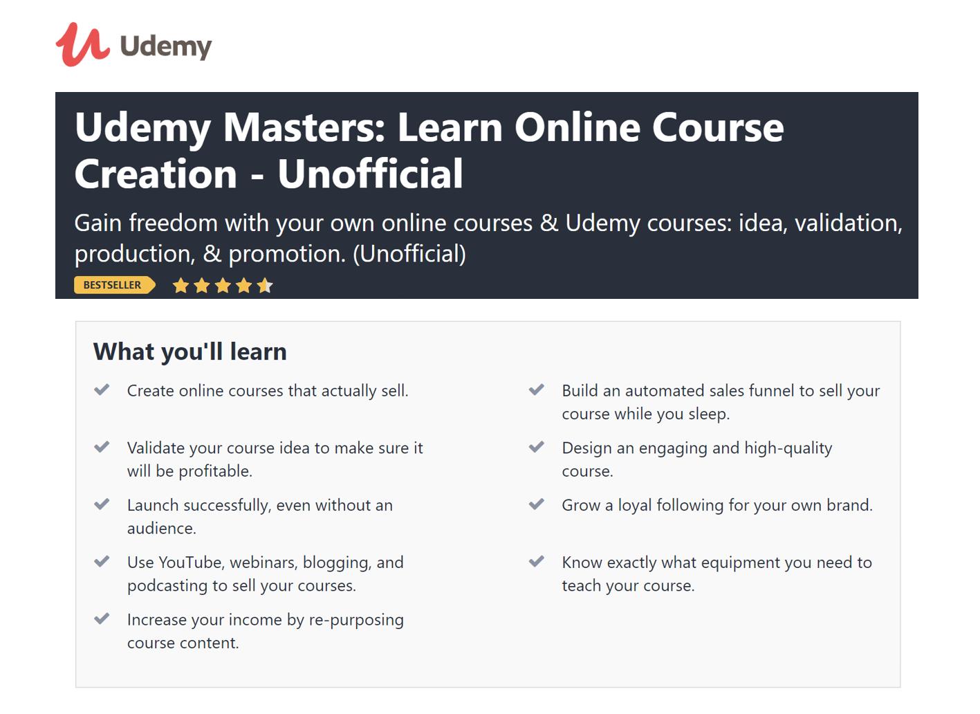 Udemy Online Course Description