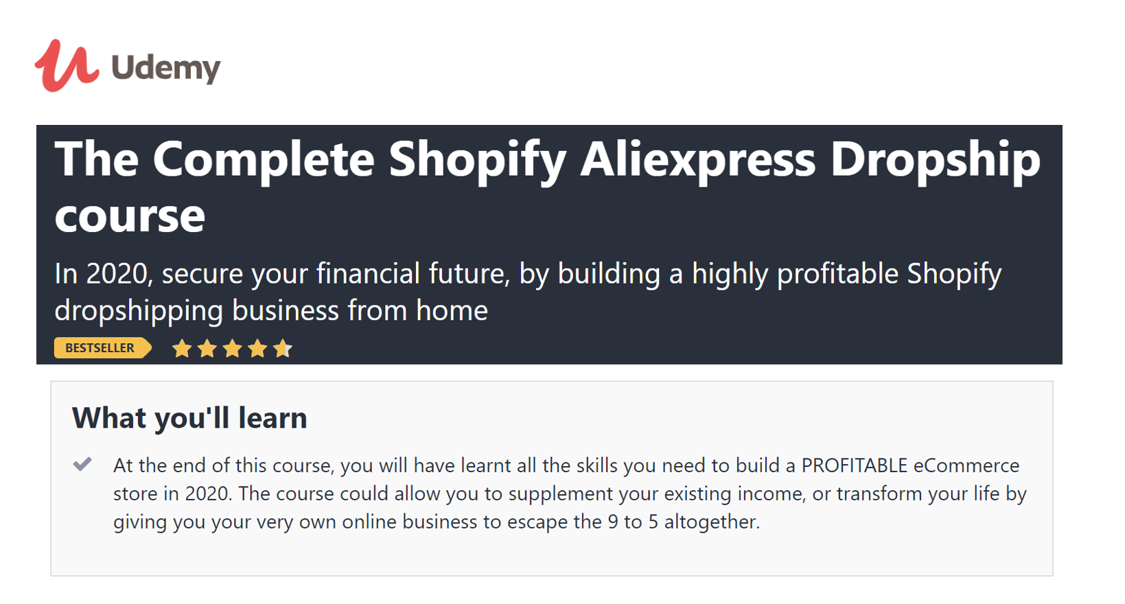 Udemy Shopify Online Course Cover