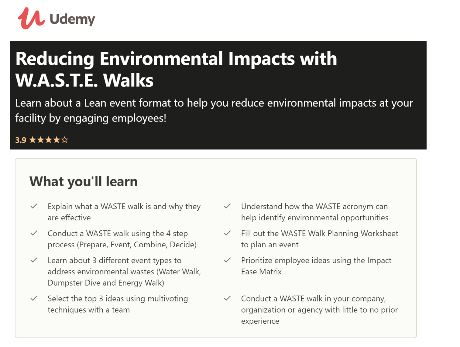 Udemy - WASTE Walks Online Course to Create Go Green Ideas for the Office